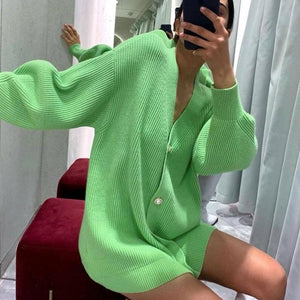 Long Sleeve Knitting Cardigan sweater Hopikas S Green