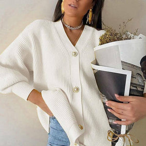 Long Sleeve Knitting Cardigan sweater Hopikas S White