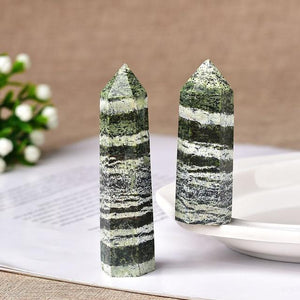 Natural Crystal Energy Mineral Hopikas Green zebra stone 70-80mm