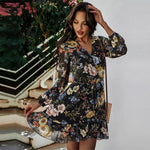 Load image into Gallery viewer, New Print Floral Dress Hopikas Black L