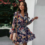Load image into Gallery viewer, New Print Floral Dress Hopikas Navy Blue S