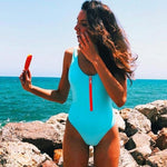 Load image into Gallery viewer, New Sexy Zipper One Piece Swimsuit Hopikas Sky Blue S