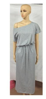 Load image into Gallery viewer, Off Shoulder Dress With Pocket Hopikas light grey S