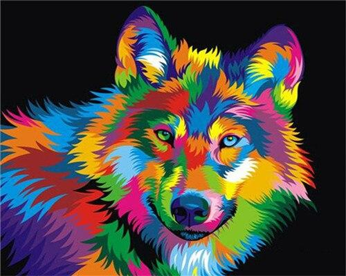 Paints By Numbers Colorful Animals Pictures Hopikas Abstract wolf