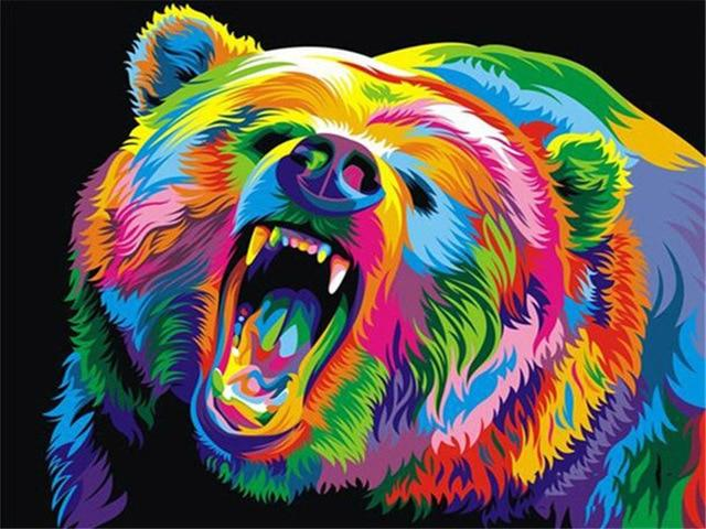 Paints By Numbers Colorful Animals Pictures Hopikas Bear