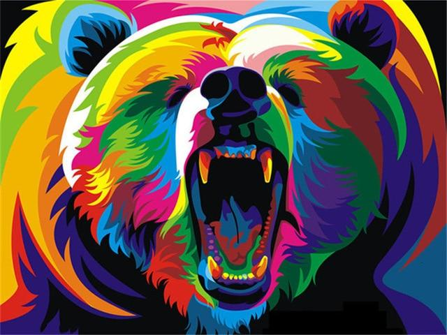 Paints By Numbers Colorful Animals Pictures Hopikas Colorful Bear