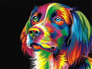 Paints By Numbers Colorful Animals Pictures Hopikas Colorful dog