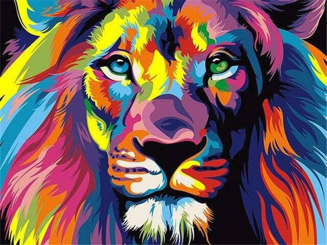 Paints By Numbers Colorful Animals Pictures Hopikas Colorful lion