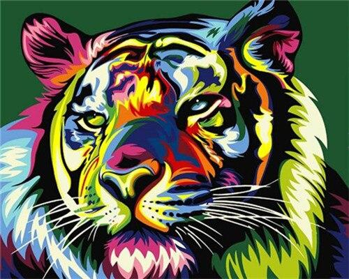 Paints By Numbers Colorful Animals Pictures Hopikas Colorful Tiger