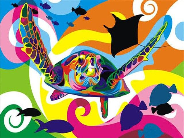 Paints By Numbers Colorful Animals Pictures Hopikas Colorful turtle