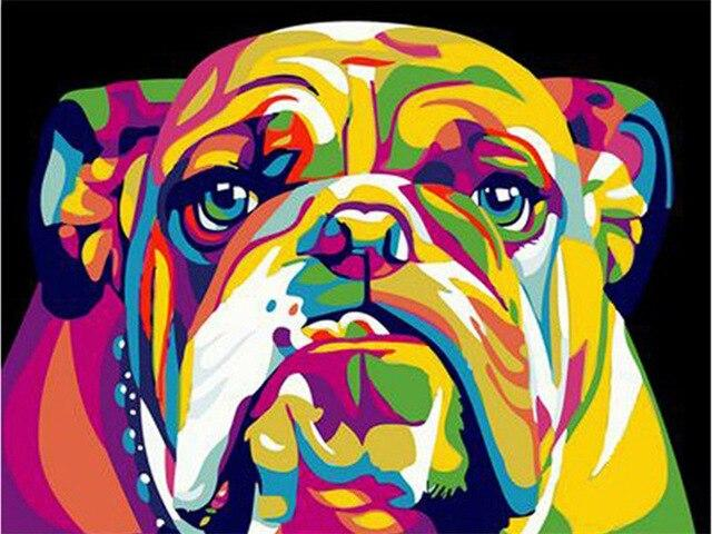 Paints By Numbers Colorful Animals Pictures Hopikas Rainbow Bulldog