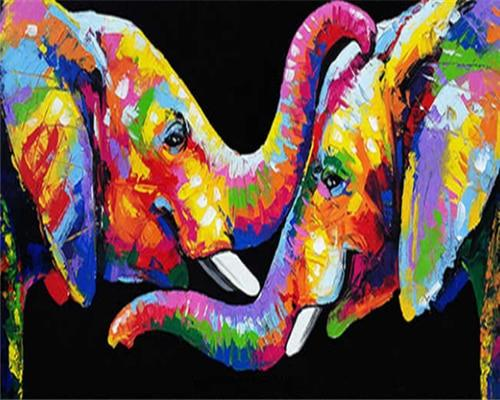 Paints By Numbers Colorful Animals Pictures Hopikas Rainbow Elephants