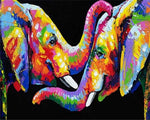 Load image into Gallery viewer, Paints By Numbers Colorful Animals Pictures Hopikas Rainbow Elephants