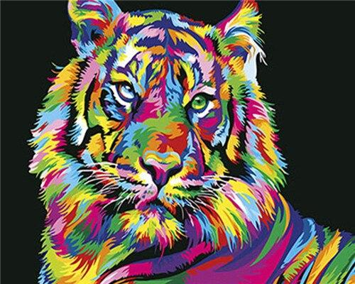 Paints By Numbers Colorful Animals Pictures Hopikas Rainbow Tiger