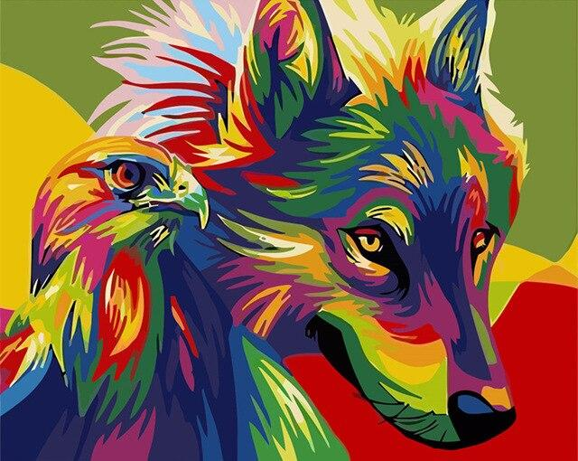 Paints By Numbers Colorful Animals Pictures Hopikas Rainbow Wolf