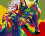 Load image into Gallery viewer, Paints By Numbers Colorful Animals Pictures Hopikas Rainbow Wolf