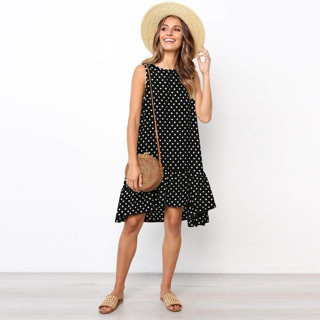 Polka Dot Mini Dress Hopikas Black XXXL