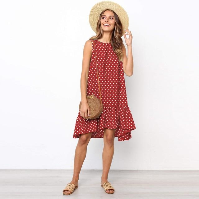 Polka Dot Mini Dress Hopikas Red L