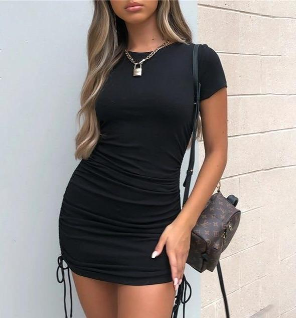 Ruched Bodycon Dress Hopikas Black L