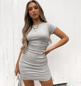 Ruched Bodycon Dress Hopikas Gray L