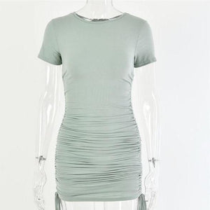 Ruched Bodycon Dress Hopikas green L