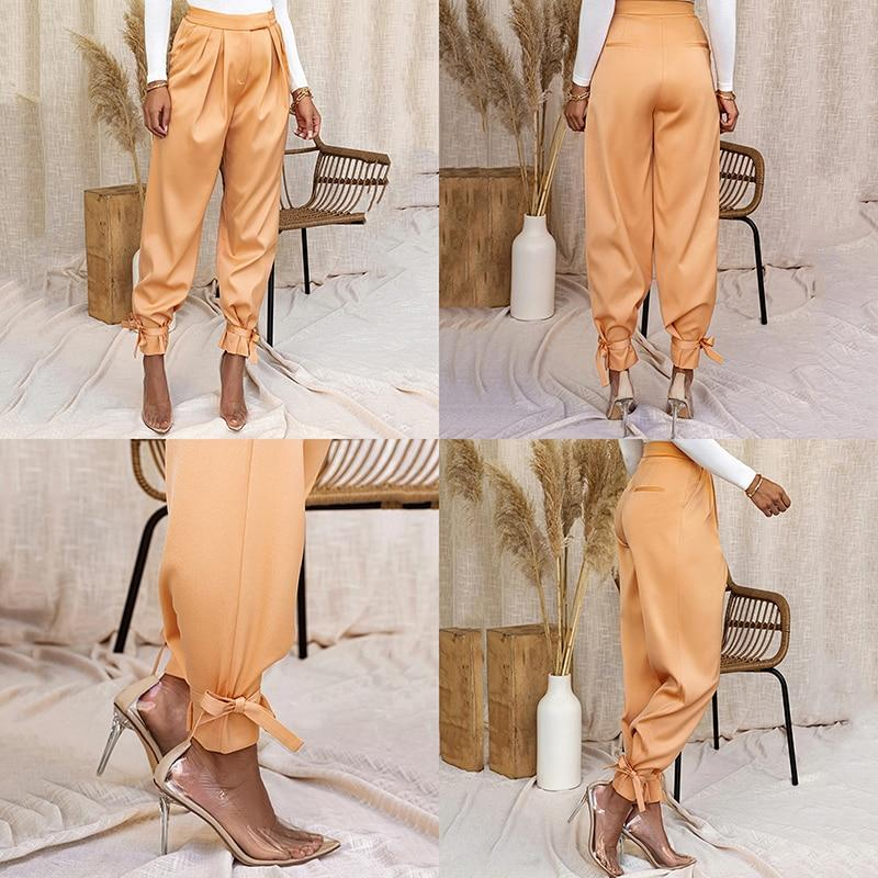 Satin Lace Up High Waist Pant Hopikas
