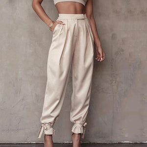 Satin Lace Up High Waist Pant Hopikas As Shown 2 L
