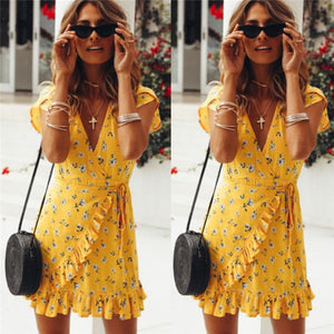 Short Mini YELLOW Dress Hopikas