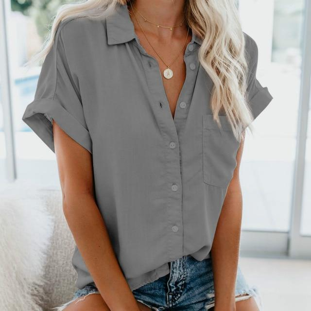 Short Sleeve Blouse Hopikas Gray XXL