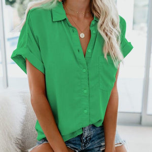 Short Sleeve Blouse Hopikas Green S