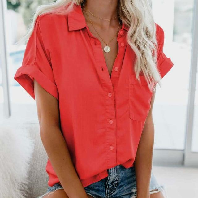 Short Sleeve Blouse Hopikas Red XXL
