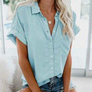 Short Sleeve Blouse Hopikas Sky Blue XXL