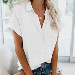 Short Sleeve Blouse Hopikas White XXL