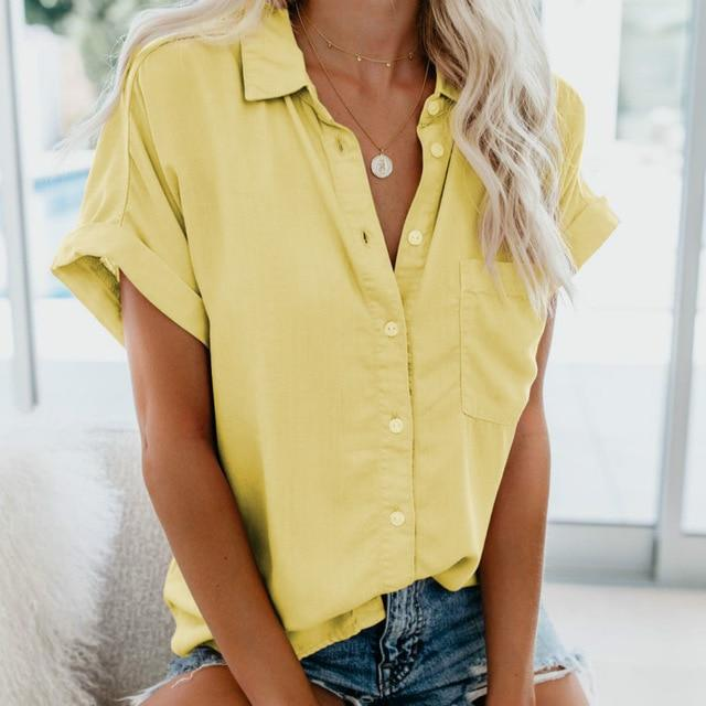 Short Sleeve Blouse Hopikas YELLOW S
