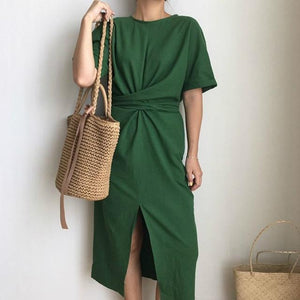 Short Sleeve Bodycon Dress Hopikas Green