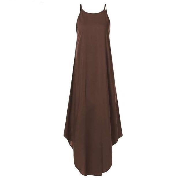 Sleeveless Irregular Dress Hopikas Brown S