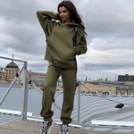 Load image into Gallery viewer, Streetwear Women Joggers & Sweatshirt Hopikas army green st3 United States XL
