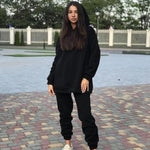 Load image into Gallery viewer, Streetwear Women Joggers & Sweatshirt Hopikas black st4 United States S
