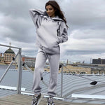 Load image into Gallery viewer, Streetwear Women Joggers & Sweatshirt Hopikas gray st3 United States XL