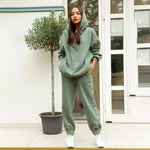 Load image into Gallery viewer, Streetwear Women Joggers & Sweatshirt Hopikas green st1 United States S