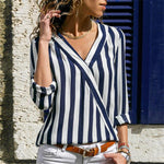 Striped Long Sleeve Blouse Hopikas Navy Blue S