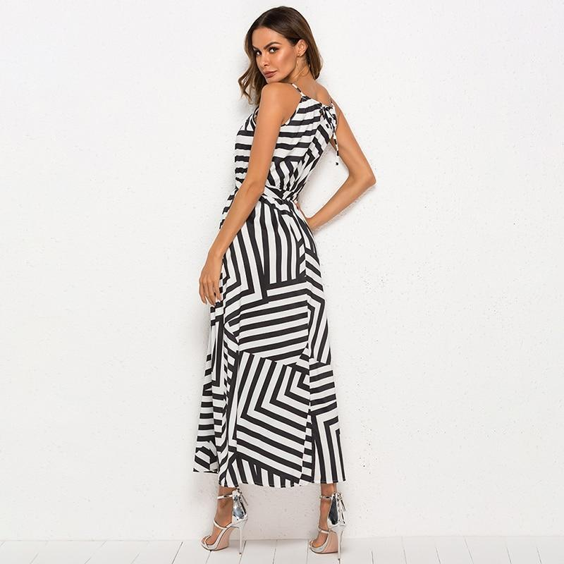 Striped Sleeveless Long Dress Hopikas