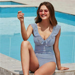Load image into Gallery viewer, Striped Swimsuit Hopikas White Blue Striped XL