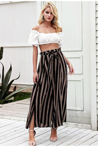 Striped Wide Leg Pants Hopikas Black S