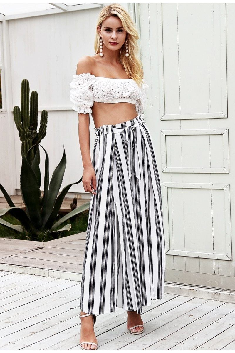 Striped Wide Leg Pants Hopikas White S