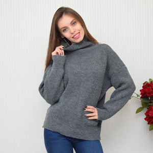 Turtleneck Knitted Sweater Hopikas Gray One Size