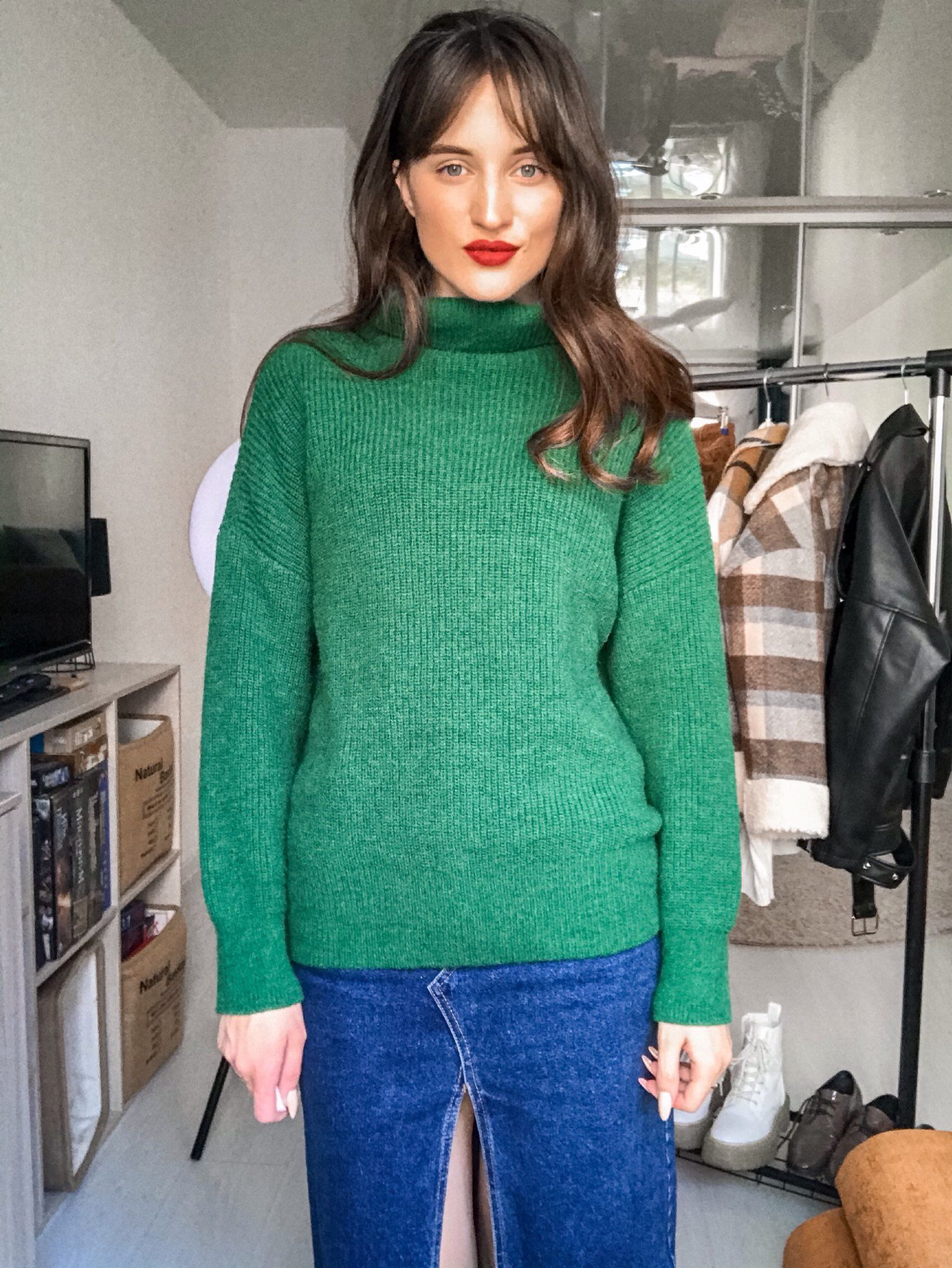 Turtleneck Knitted Sweater Hopikas Green One Size