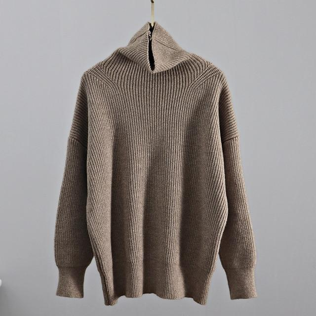 Turtleneck Knitted Sweater Hopikas Khaki One Size