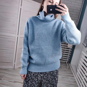 Turtleneck Knitted Sweater Hopikas Light blue One Size