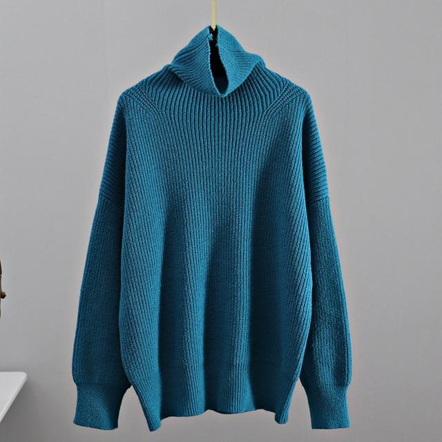 Turtleneck Knitted Sweater Hopikas Peacock blue One Size